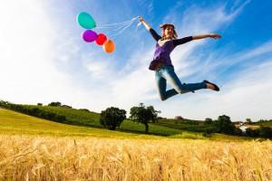 風船を持ってジャンプ