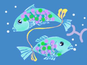 イラスト リボンで結ばれた2匹の魚