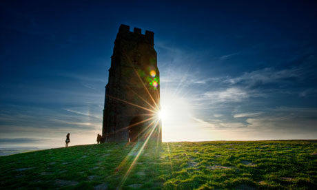 Glastonbury Tor at sunset.